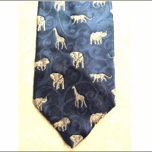 Endangered Wildlife African Safari Animal Silk Tie